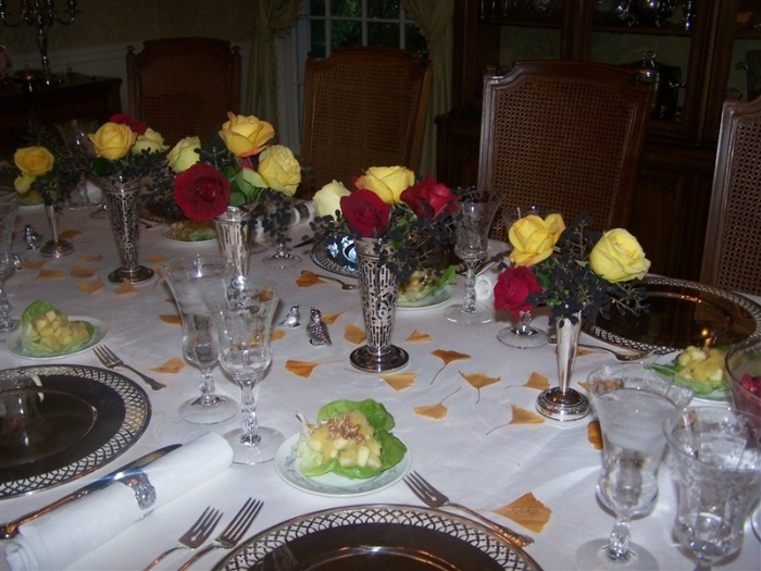 A holiday tablescape with roses from my Mother's garden.